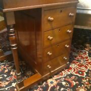 Antique Victorian Davenport Writing Desk Rare 3/4 Size Brass Galley Fitted Inter