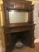 Rare Antique Victorian Oak Fire Surround With Seperate Mirrored Mantle
