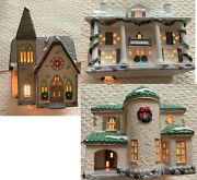 Lot Of 3 Dept 56 Dickens Christmas Village Houses And Church W Light Cords