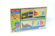 Melissa And Doug Wooden See And Spell Puzzle Set--brand New Bus/fish Classic Toy