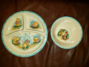 Classic Winnie The Pooh Divided Plate And Bowl Set By Selandia Designs