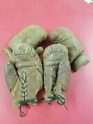 Vintage Leather Straw Filled Boxing Gloves 2 Pairs