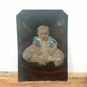 Antique Full Plate Tintype Photograph Of Baby In Dress Photo Vintage Colored Tin