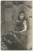 1910 Pretty Maori Woman In Ethnic Clothing, Wood Carvings New Zealand Photograph