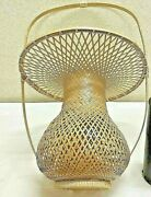 Japanese Antique Bamboo Basket With Handle Round Sharp 12.2x19.6inch