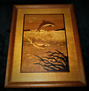 Vintage Inlay Mixed Wood Marquetry Ocean Scene Signed Nelson Framed 10x 12 3/4