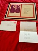 Original Signed Card And Placard Sent To Sammy Davis Jr's Asst From President Ford