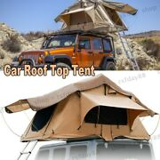 Outdoor Camping Hiking Tent Car Roof Top Tent 2 3 Person Sleeping Area W/ Ladder