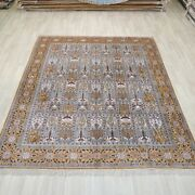 8and039x10and039 Handknotted Silk Area Rug Garden Scene Oriental Floral Carpet L096c