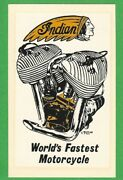 Vintage Original 1968 Ed Roth Indian World's Fastest Motorcycle Decal Art