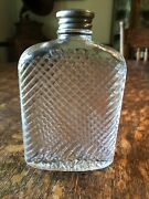Vintage Universal Ribbed Glass Prohibition Flask Patent 1927 5.25andrdquo Tall