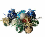 Handmade Quilted Fabric Christmas Ornaments Lot Of 9 Assorted Sizes
