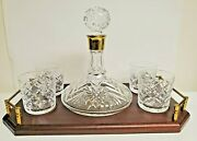 Vintage Waterford Crystal Bar Set Ships Decanter 4 Old Fashioned Wood Tray