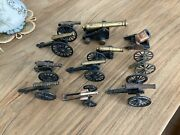 Vintage Lot Of 11 Cast Iron Cannon Replica Brass Cival War Usa Toy Collection
