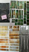 14 + Lbs Antique Green / Amber Slag -- Clear Stained Glass Panel Pieces 1900's
