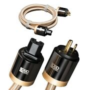 Aurum Ac Power Cable Braided Gold Jacket Three Pure Copper Conductors 3.2ft-16ft
