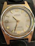 Rare Vintage Lanco Gold Plated Hand Wind Running Strong Black Wide Strap