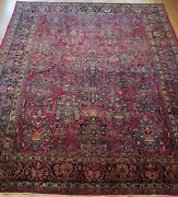 Antique Saroukk Floral Hand Knotted Wool Red Oriental Rug Cleaned 9and039 X 12and039