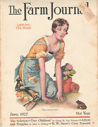 Vintage The Farm Journal Front Cover June 1927 Woman/toad In Garden