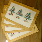 Linens Christmas Cotton Martha Decorated Trees Gold Reversible 4 Usa Seller