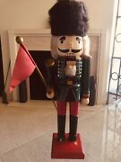 """Antique Large Wooden """"nutcracker Soldier Figurine"""" Decor Hand Crafted And Painted"""