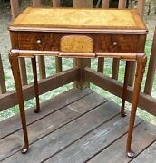 Antique Occasional Table Queen Anne Pad Feet Walnut And Maple One Drawer Beauty
