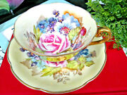 Occupied Japan Tea Cup And Saucer Pink Rose Bailey Like Rose Teacup Gold Floral