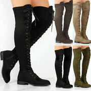 Womens Over The Knee Joker Boots Vintage Thigh High Flats Lace Up Shoes Size Us
