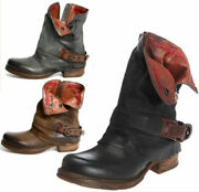 Ladies Womens Buckle Mid Calf Biker Comfy Ankle Boots Chunky Low Heel Shoes Size