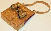 Antique Lady's French Opera Glasses With Matching Embossed Leather Mini Purse