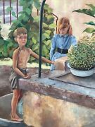 Vintage French Realistic Oil Lively Landscape With Chidren In The Garden C.1930