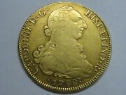 1798 Santiago 8 Escudos Chile Charles Iv Spanish Gold Spain Coin Colonial
