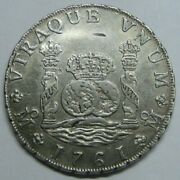1761 Mexico Mm 8 Real Pillar Charles Iii Genuine Spanish Colonial Silver