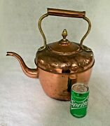 Vintage Large 2 Gallon Solid Copper Tea Kettle Wi/brass And Copper Riveted Handle