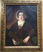 Large 19th Century English School Portrait Of A Lady Antique Oil Painting Framed