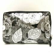 Cosmetic Pouch Black System Accessory Case Camellia Flower Motif W _34126