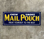 """Vintage Nos Mail Pouch 11"""" Embossed Heavy Gauge Tin Tobacco Advertising Sign"""