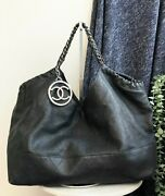 Auth Black Vintage Soft Leather Large Tote Bag Silver Hw With A Pouch