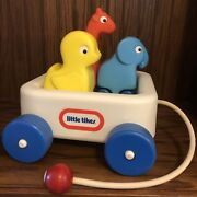 Vintage 1980s Little Tikes Animal Pals Wagon And Friends Cart Toddler Pull Toy