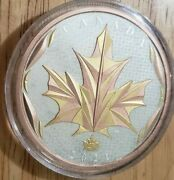 2021 5oz 50 Dollar Silver W/gold Maple Leaves In Motion Coin