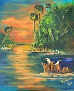Original Florida Highwaymen Style Painting By Rochelle Sunset Over The St Johns
