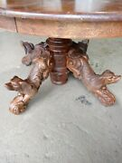 Antique Hand Carved French Dining Table With Dog On The Legs