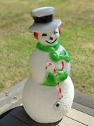 Vintage Union Products 40 Dimple Snowman Blow Mold Christmas Green Scarf