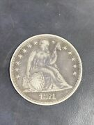 1871 United States 1 Dollar Coin Seated Liberty Vintage Antique Coin