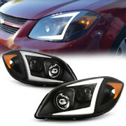 For 05-10 Chevy Cobalt Black Led Neon Tube Halo Drl Projector Headlight L+r Lamp