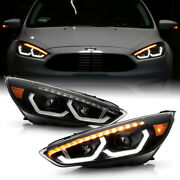 [sequential]black Housing Led Tube Dual Projector Headlight For 2015-2018 Focus