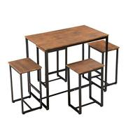5pcs 87cm High Bar Table And Chair Simple Eucalyptus Pattern Dining Table Us