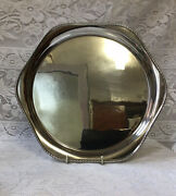 George V Art Deco 1932 Rf Mosley And Co Beaded Solid Silver Salver, Wine Tray 30cm