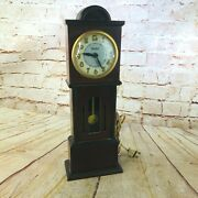 Vintage United Mini Grandfather Mantel Shelf Clock For Repair Parts Not Working