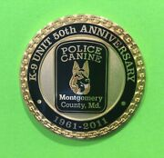 Rare Montgomery County Maryland Police K-9 Unit 50th Anniversary Challenge Coin